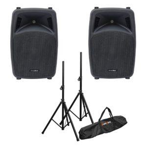 Phonic Jubi 12A Lite + Bespeco SH80N - комплект активной акустики + стойки
